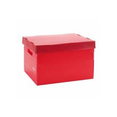 Caja Archivo Plastica Con Tapa 45x35x25 Rojo